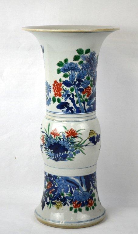19th Cen. Chinese Famille Verte Beaker Vase (Gu)