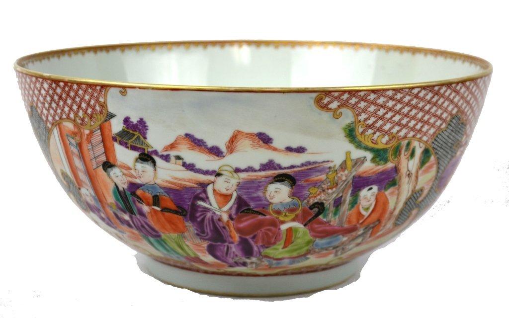 Chinese Porcelain Rose Medallion Bowl, 18th Cen.