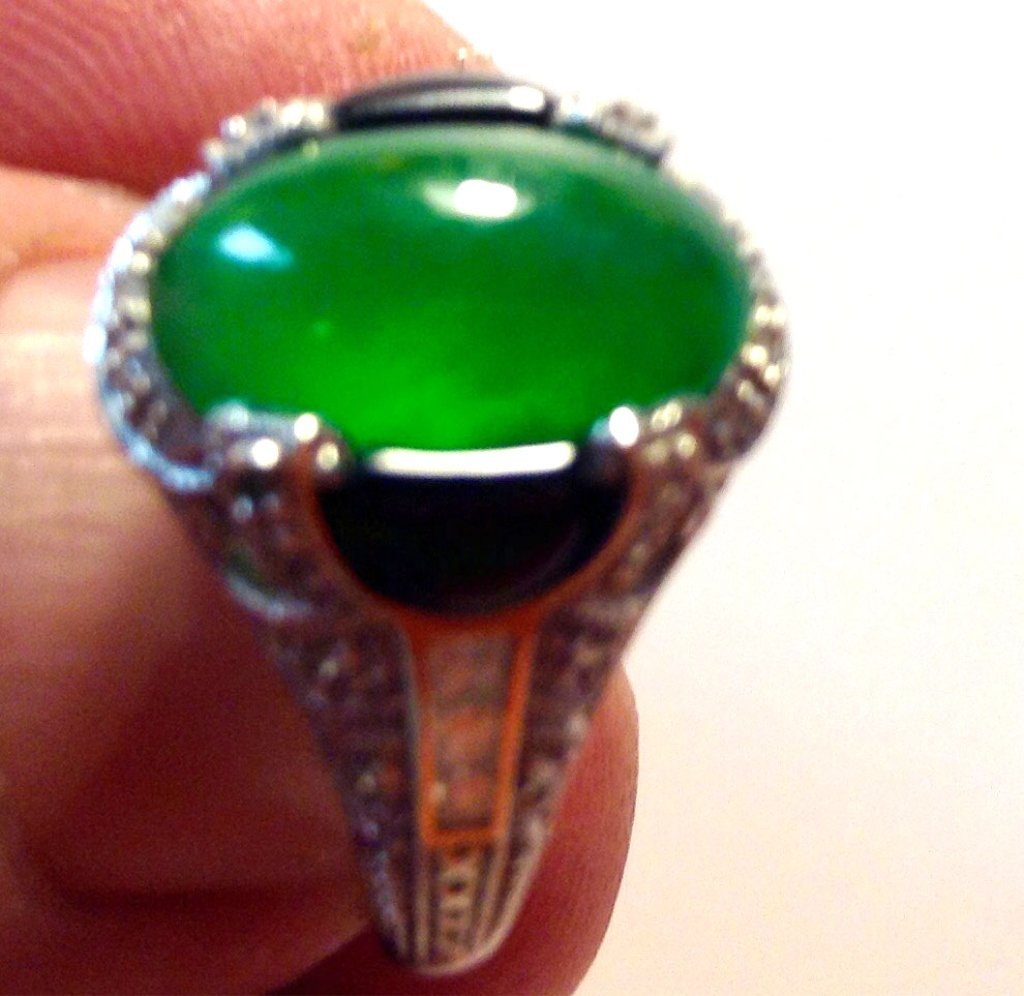 Natural Green Jadeite Ring with Diamonds