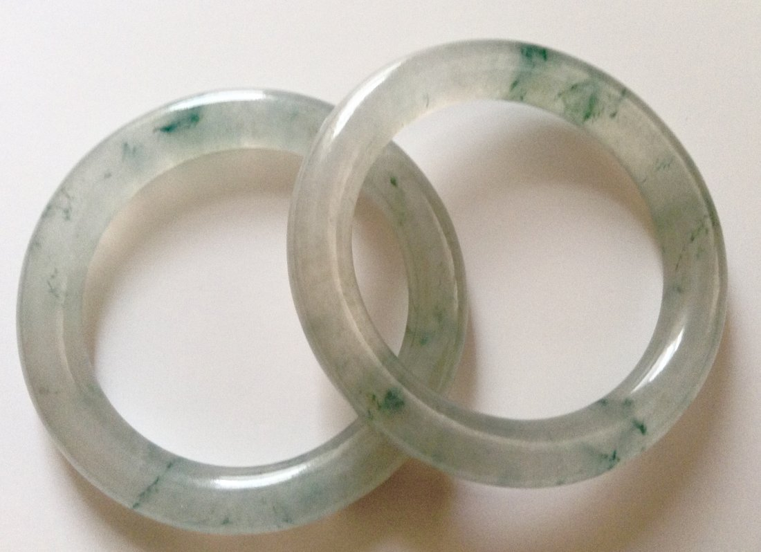 Pair Natural Icy Jadeite Bangle Bracelets