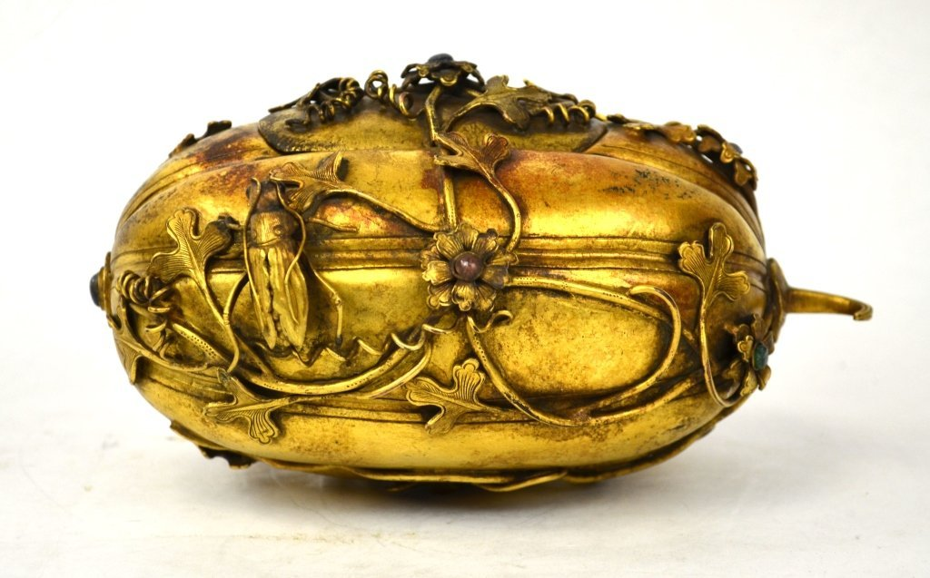 Chinese Gilt Bronze Covered Box, Qing Dynasty