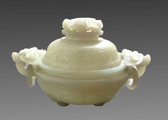 17/18 Cen.Chinese Tripod White Jade Covered Censer