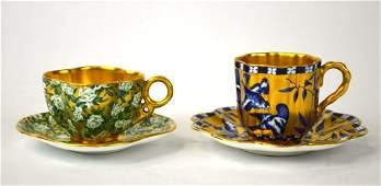Two Coalport Miniature Cups & Saucers