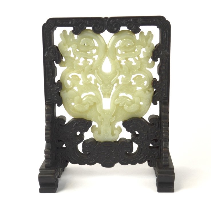 Chinese Carved Jade Plaque Framed by Zitan Wood