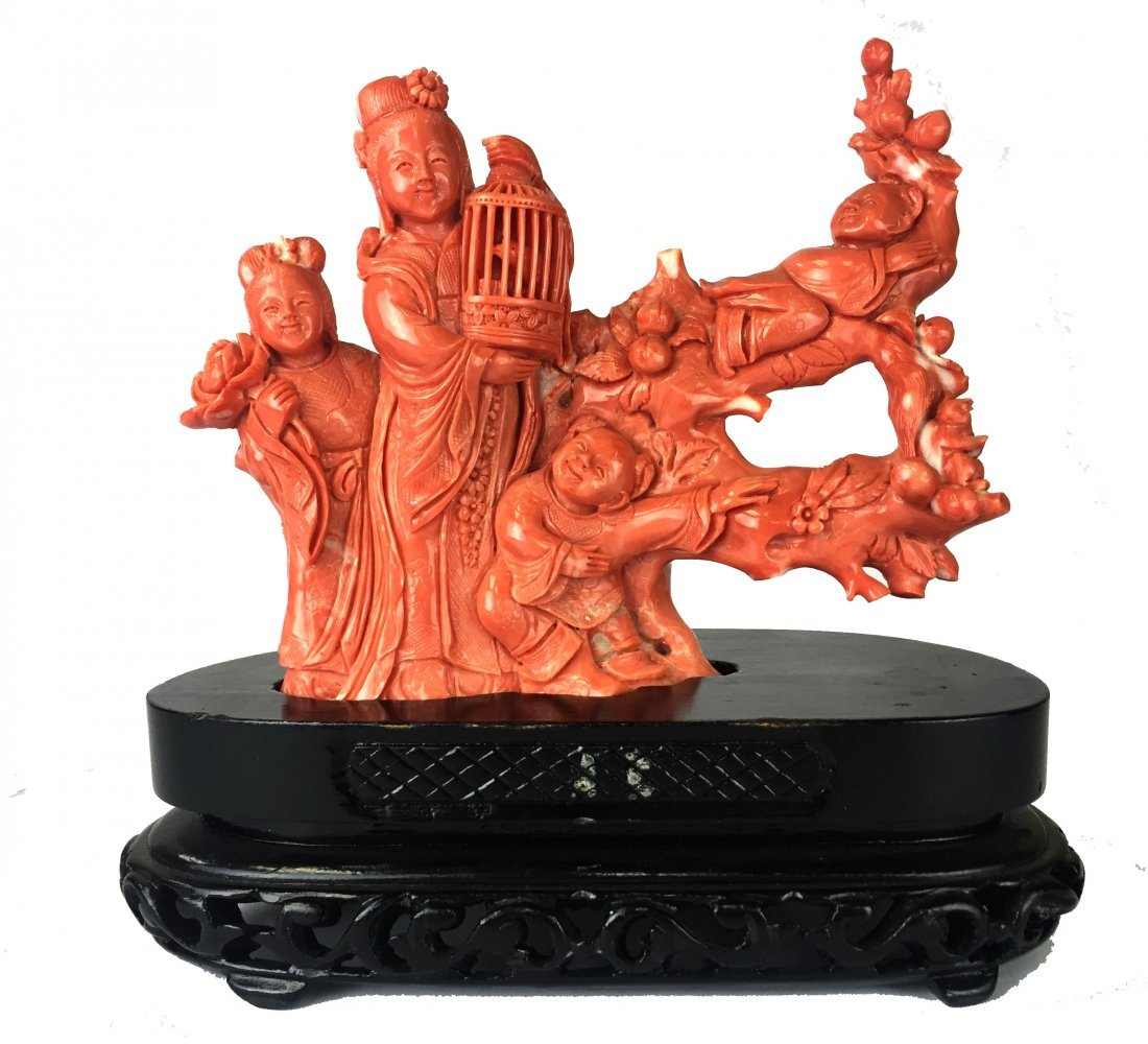 Chinese Carved Coral Figure with Cage
