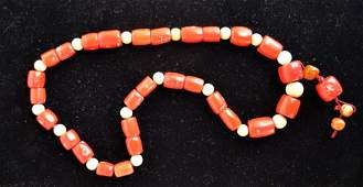 Chinese Coral and Wood Beaded Necklace