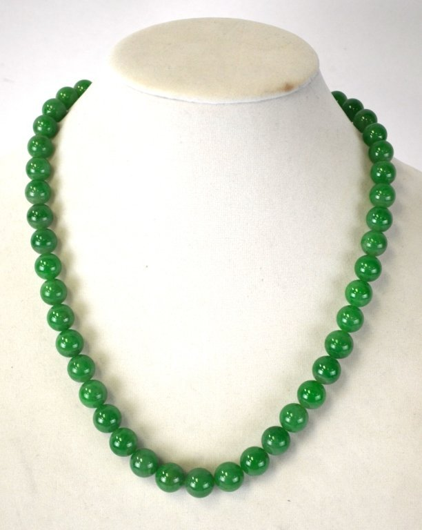 Chinese Natural Green Jadeite Beads Necklace
