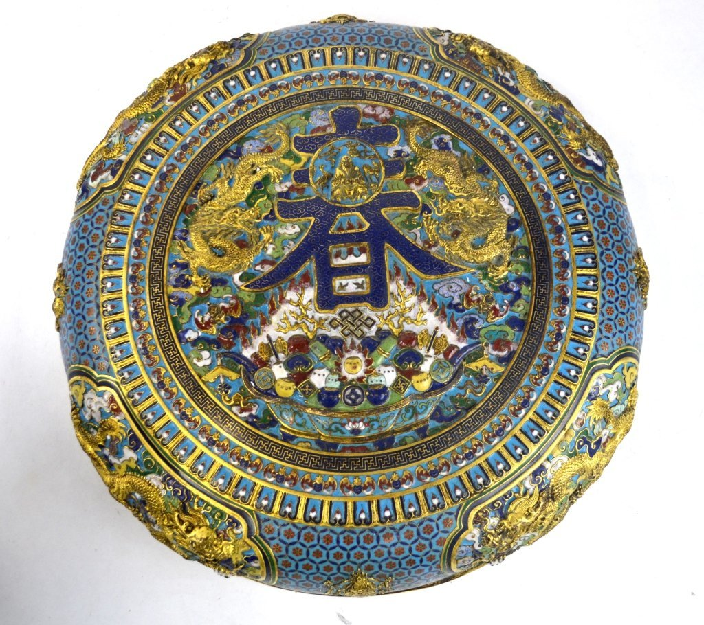 Large Chinese Covered Round Cloisonne Box