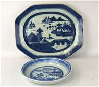 Two Chinese Blue & White Export Porcelain Plates