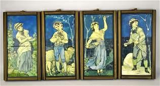 Set of Four English Tiles Panels