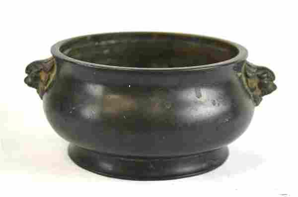 Chinese Bronze Incense Burner w. Lion Heads