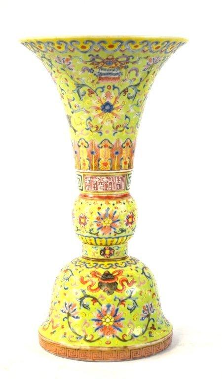 Chinese Lime Green Ground Famille Rose Beaker Vase