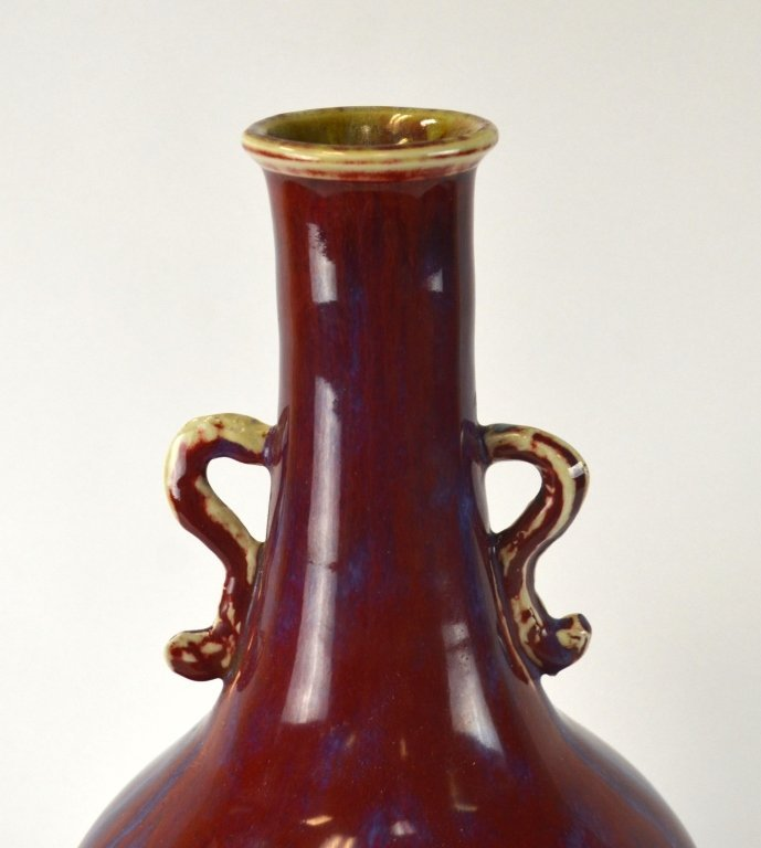 Chinese Flambe  Glazed Long Neck Vase w Handles - 2