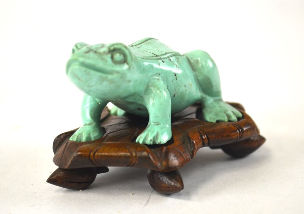 Chinese Carved Turquoise of Frog with Wood Base