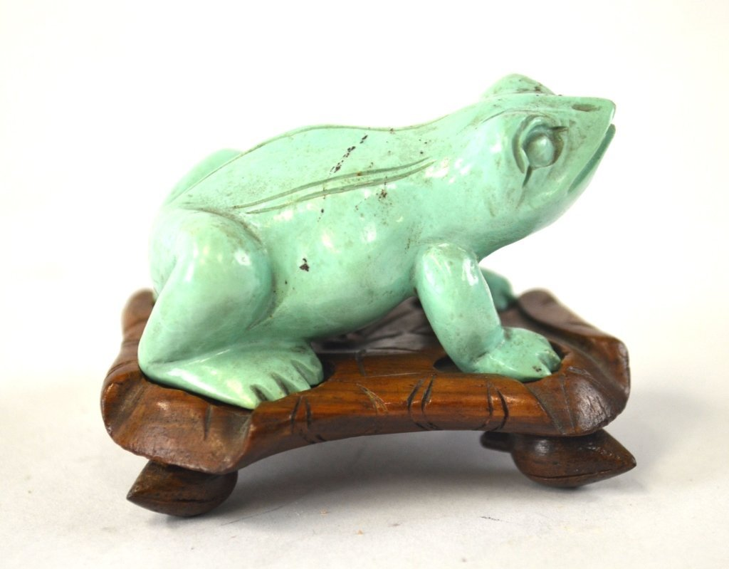 Chinese Carved Turquoise of Frog with Wood Base - 2