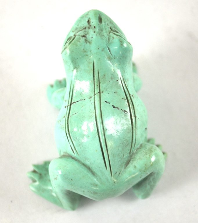 Chinese Carved Turquoise of Frog with Wood Base - 3
