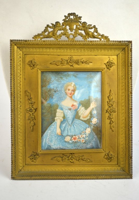 A Girl with Garland Bronze Frame