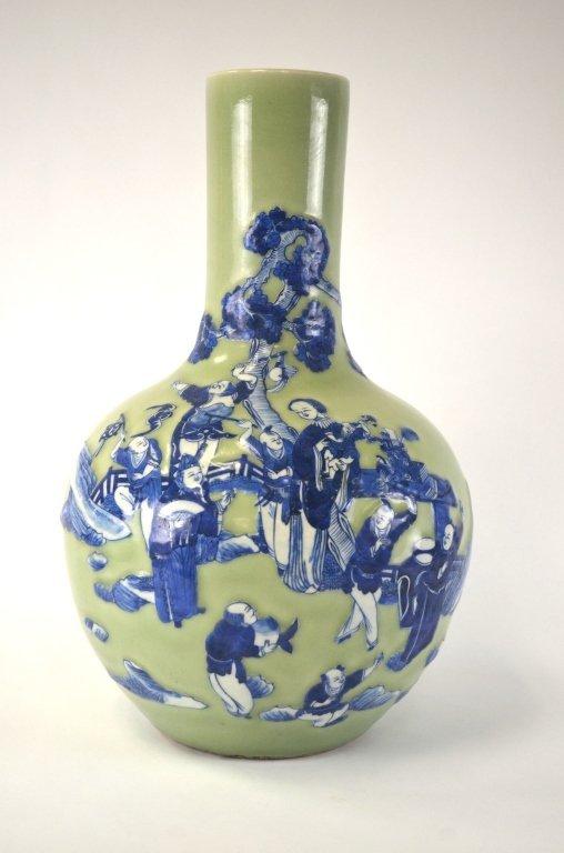 Chinese Celadon & Blue Bottle Vase