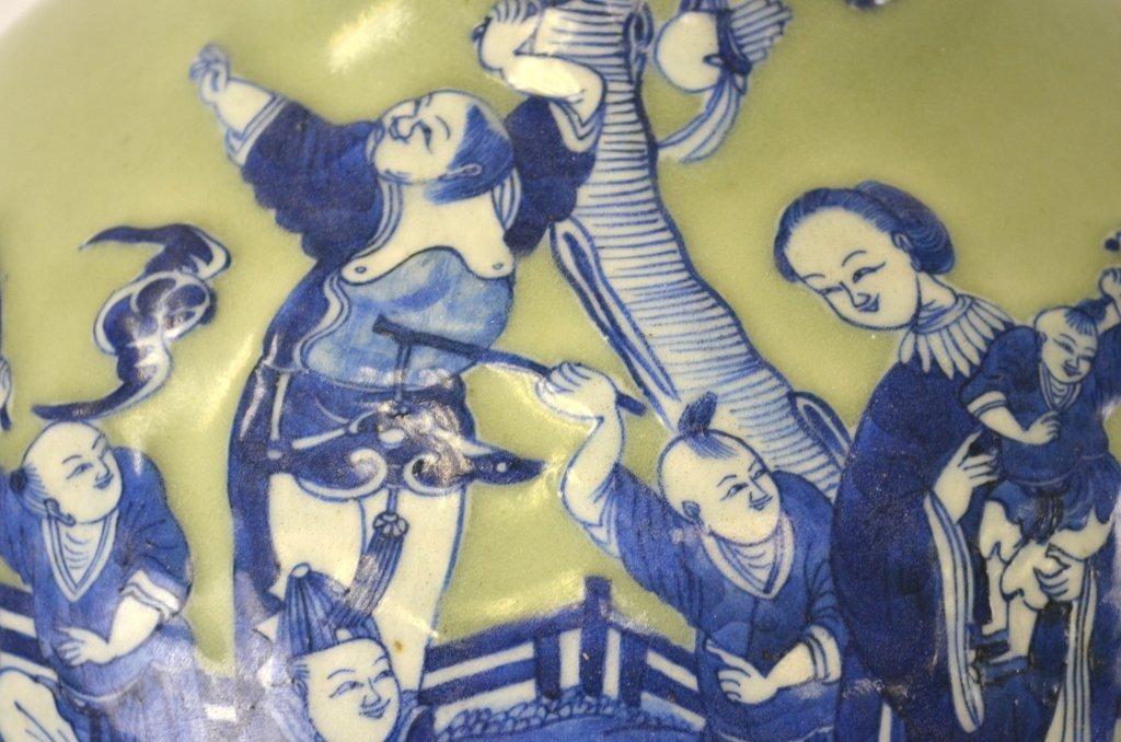 Chinese Celadon & Blue Bottle Vase - 3