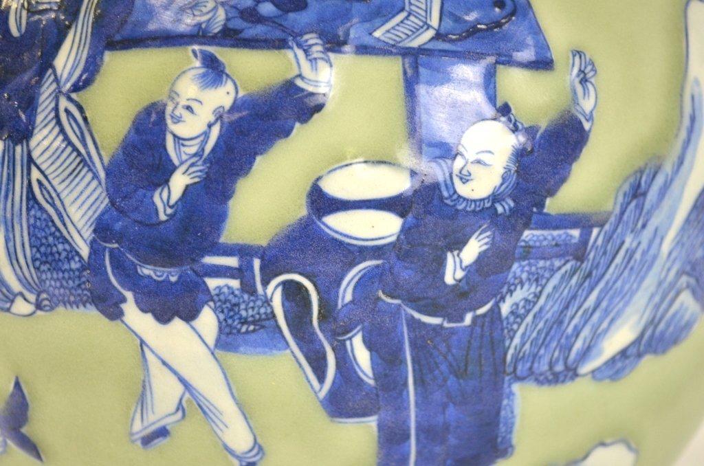 Chinese Celadon & Blue Bottle Vase - 4