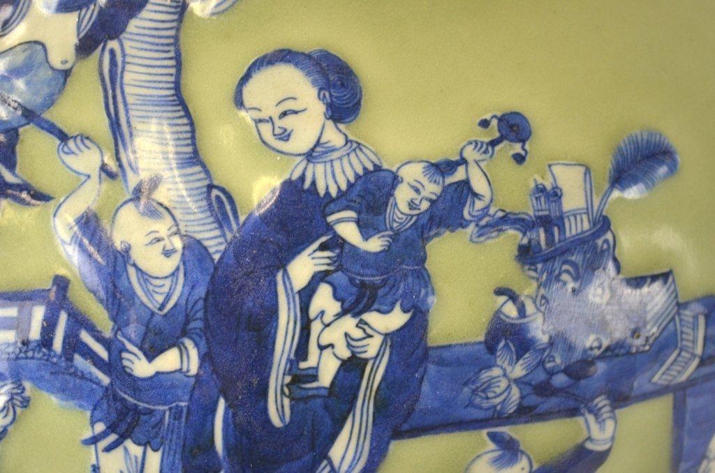 Chinese Celadon & Blue Bottle Vase - 7