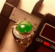 18K Gold Chinese Natural Jadeite Ring w Diamonds