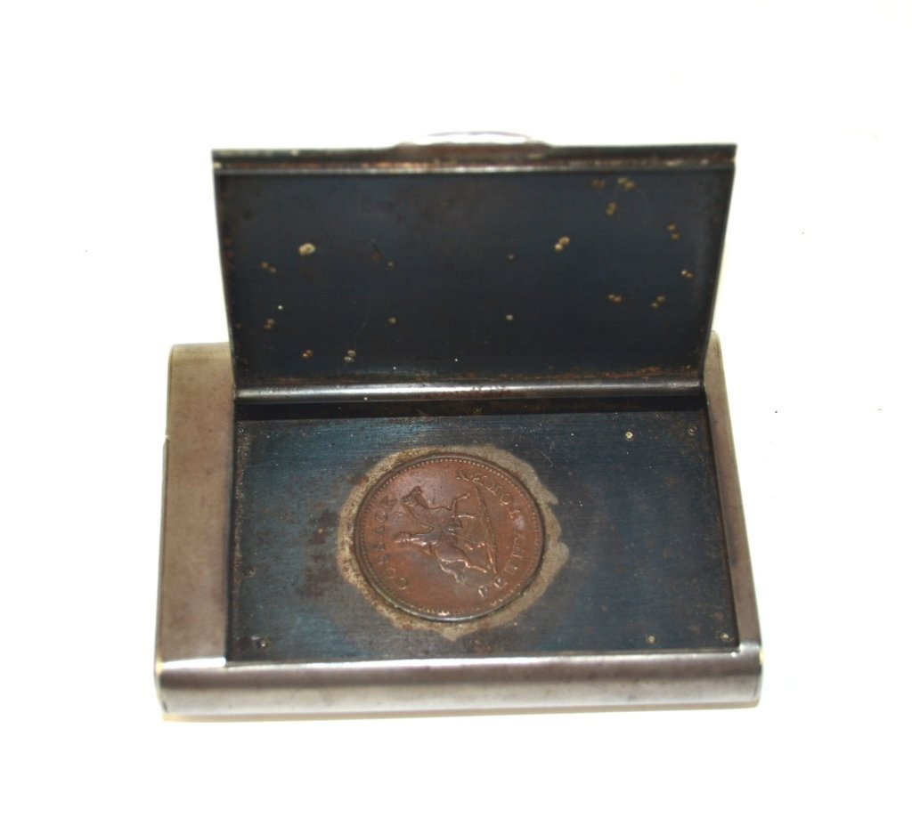 Russian Gunmetal Box with Silver Coins - 5