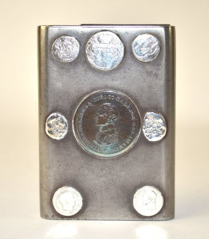 Russian Gunmetal Box with Silver Coins - 8