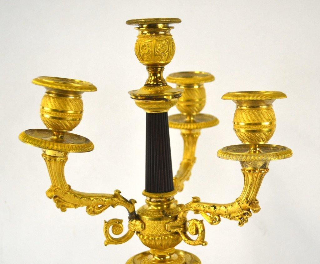 Pr  Empire Gilt Bronze Candelabras - 3