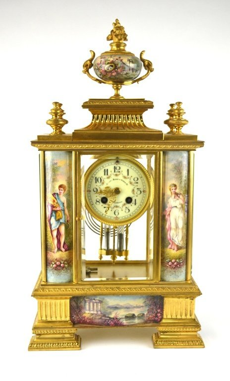 Bailey Banks & Biddle Co. Gilt Enamel Bronze Clock