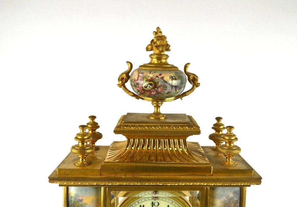 Bailey Banks & Biddle Co. Gilt Enamel Bronze Clock - 2