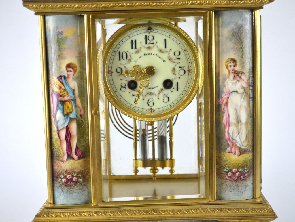 Bailey Banks & Biddle Co. Gilt Enamel Bronze Clock - 4