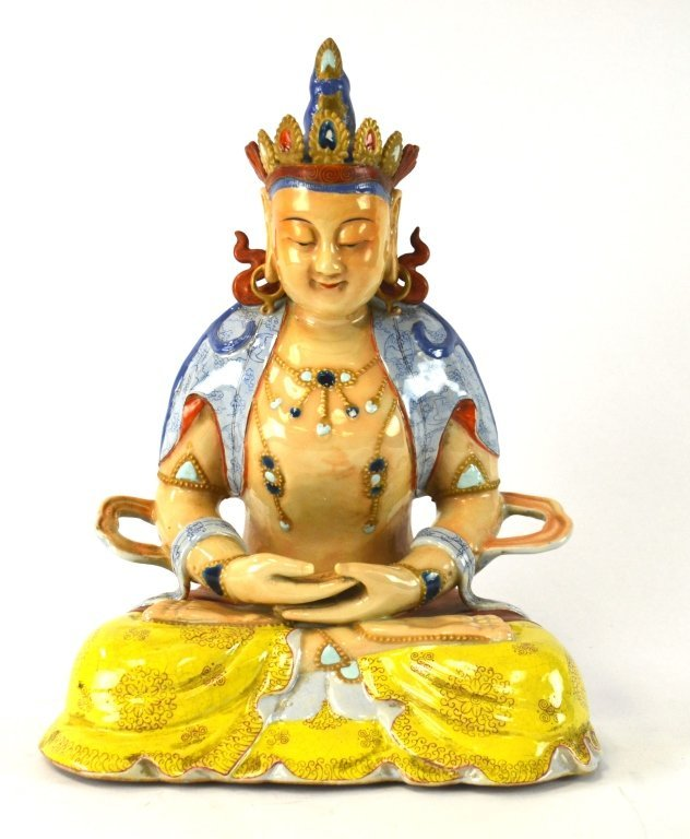 Rare Chinese Colorful Figure of Guanyin