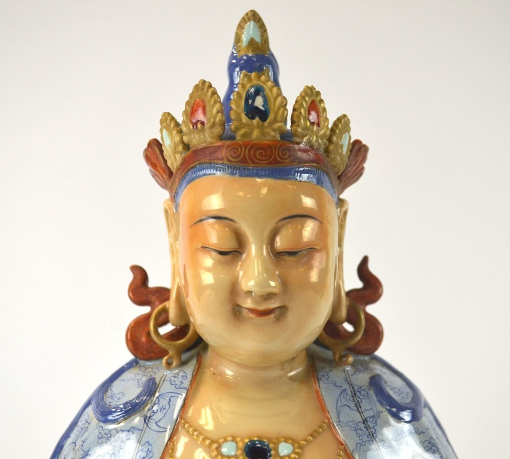 Rare Chinese Colorful Figure of Guanyin - 4