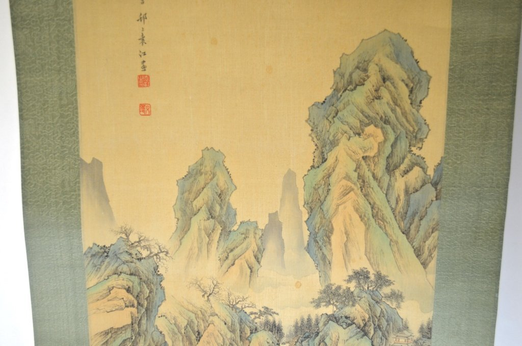 Chinese Watercolor Painting Scroll w. MountainView - 3