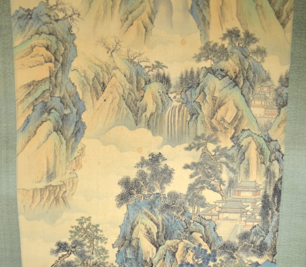 Chinese Watercolor Painting Scroll w. MountainView - 4