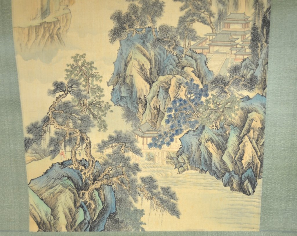 Chinese Watercolor Painting Scroll w. MountainView - 5