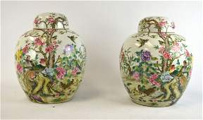 Pr of Chinese Famille Rose Covered Jars