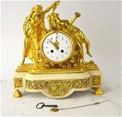 French Gilt Bronze  White Marble Clock w Figural