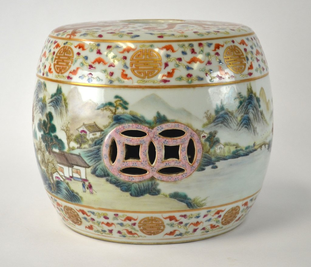 Chinese Famille Rose Mini Garden Stool