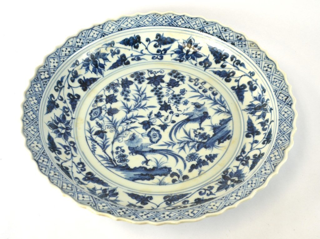 Large Round Chinese Blue & White Charger
