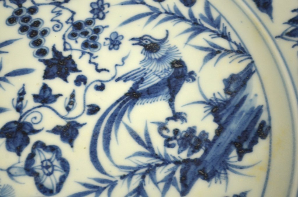 Large Round Chinese Blue & White Charger - 3