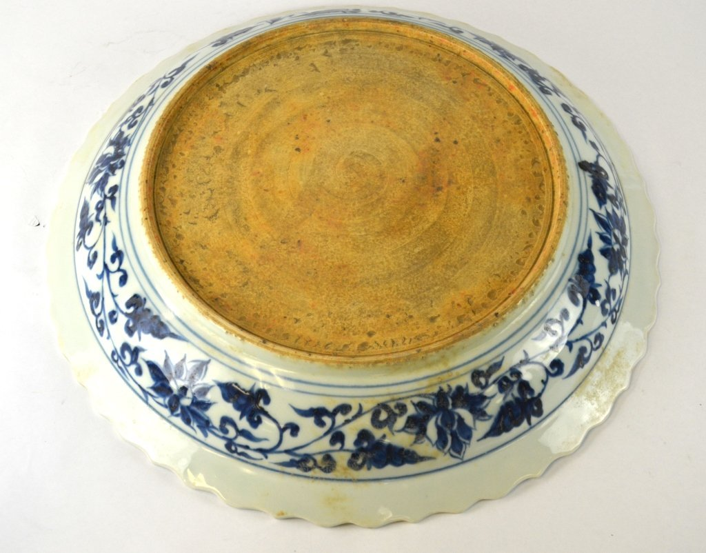 Large Round Chinese Blue & White Charger - 6