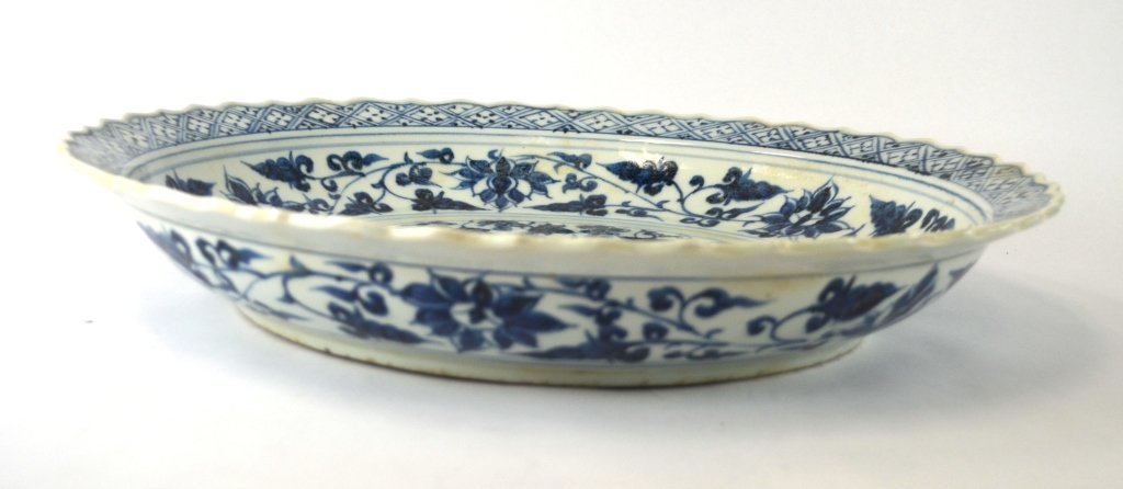 Large Round Chinese Blue & White Charger - 8