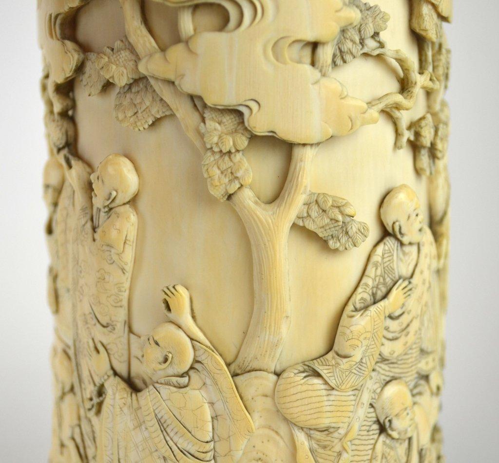 Japanese Carved Bone Brush Pot - 3