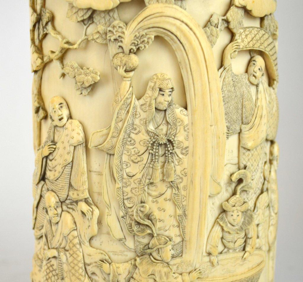 Japanese Carved Bone Brush Pot - 4