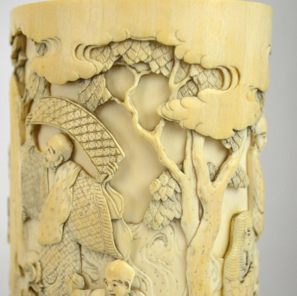 Japanese Carved Bone Brush Pot - 5