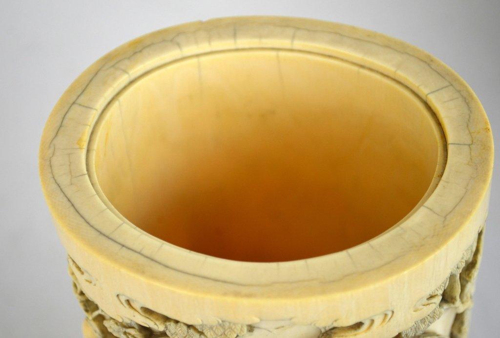 Japanese Carved Bone Brush Pot - 7