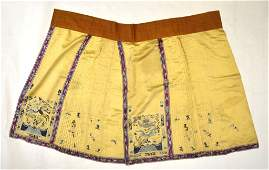 Chinese Light Yellow Silk Embroidered Skirt