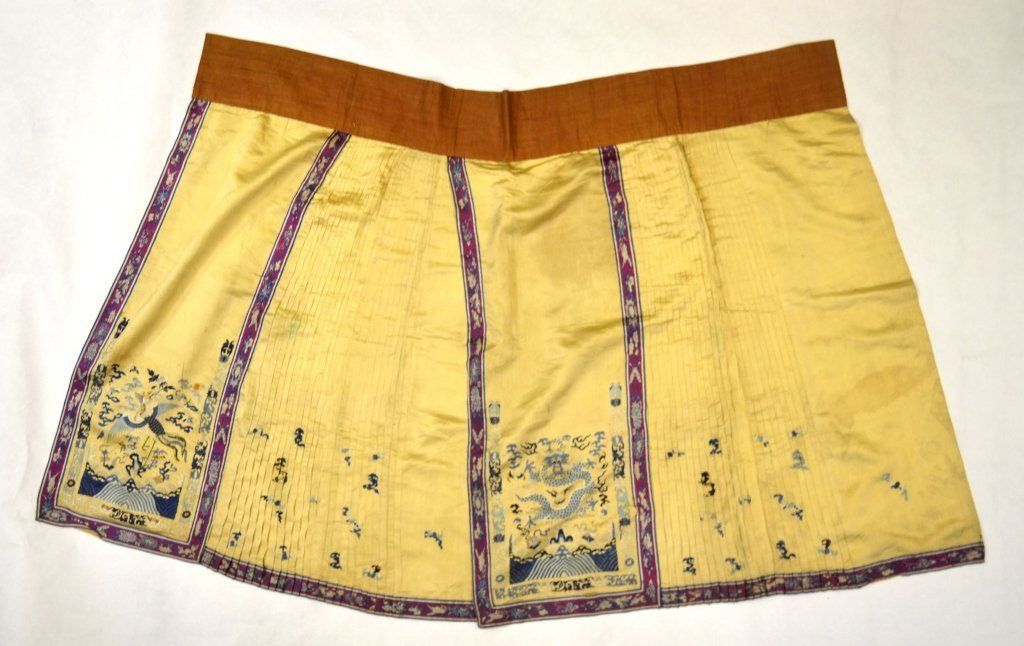 Chinese Light Yellow Silk Embroidered Skirt